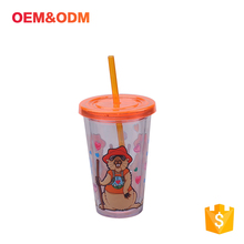 Heat Resistabt Double Clear Plastic Tumbler Cup With Straw