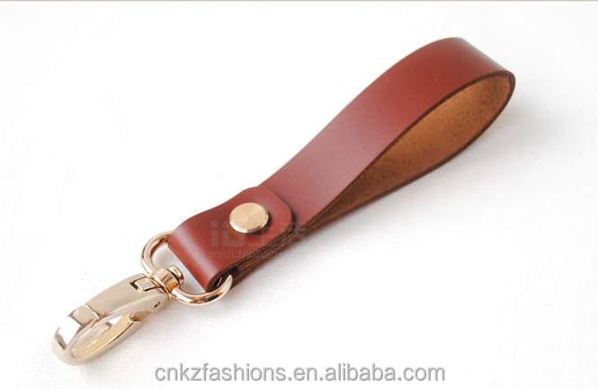 Handmade in China/ Full Grain Leather and Iron Ring Brown Leather Key Chain Lanyard