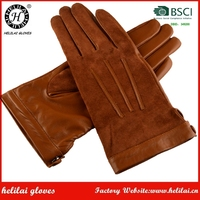 HELILAI Sheepskin And Suede Gloves,Camel Women Three Strap With Snap Button GloveS