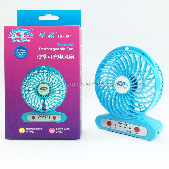 wholesale 18650 lithium battery portable mini rechargeable stand fans with LED light