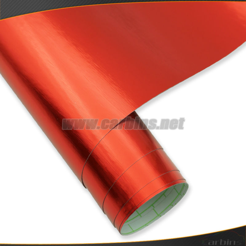 Red mirror chrome brushed car wrap vinyl roll film , bubble free car body vinyl sticker 1.52*30m