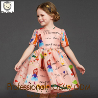 2016 summer kids clothes girls dress factory brand dresses cotton printed dresses fashion wholesale clothes