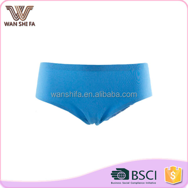 Custom elastic tight blue plain dyed cotton spandex panty for women