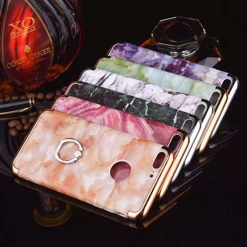Phone accessories mobile luxury 3 in 1 chrome pc marble pattern Protective shell for iphone 5 6 6s 6p 7 7p hard case