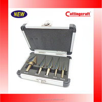 5pcs Step Drill Bit Set Hss Cobalt Coating For Multiple Hole