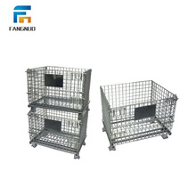 Stackable folding steel wire mesh crate pallet storage folding cage