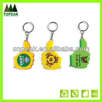 thumb shaped measure tape with keychain