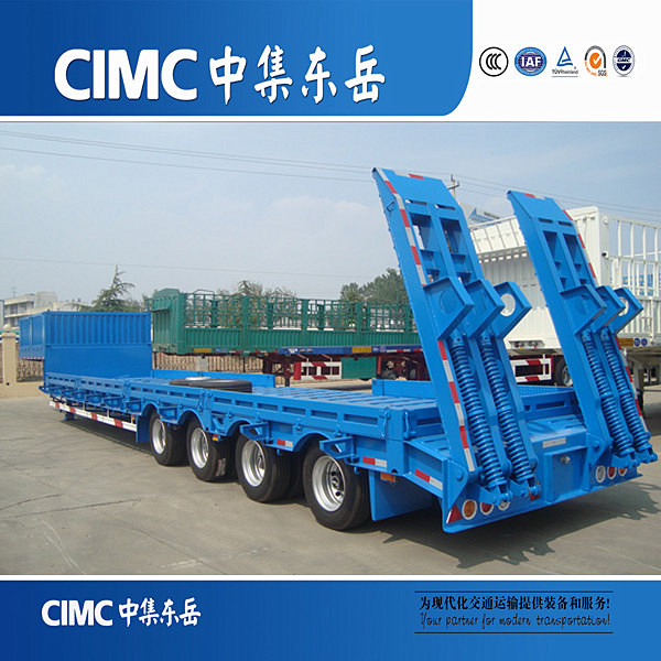 CIMC Factory Price 3 Axles Low Bed Truck Trailer Crane Lowbed Trailers