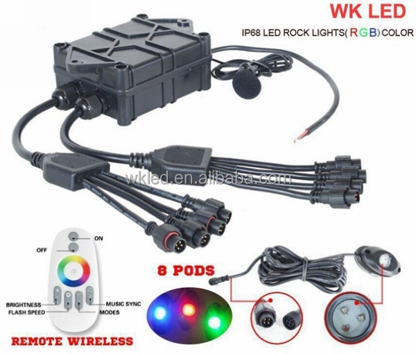 Top Quality! IP68 Waterproof Under Carriage Lighting /8-Light RGB LED Under Carriage Lighting with Music Mode