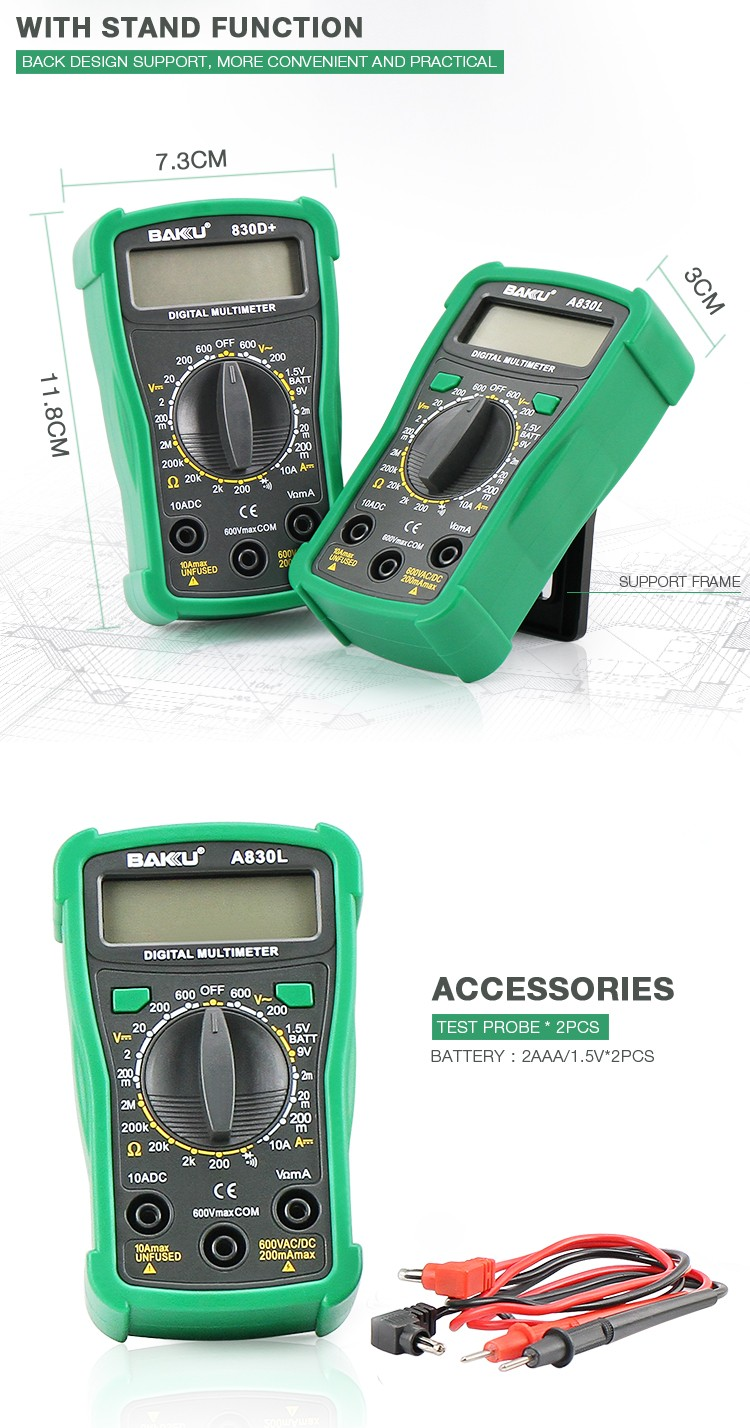 BAKU Pocket Digital Multimeter Tester BK A830L For High Voltage Diode Resistance Capacitance And Transistor Multimeters