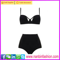 2015 black high waist two pcs sexy young girls black bikini