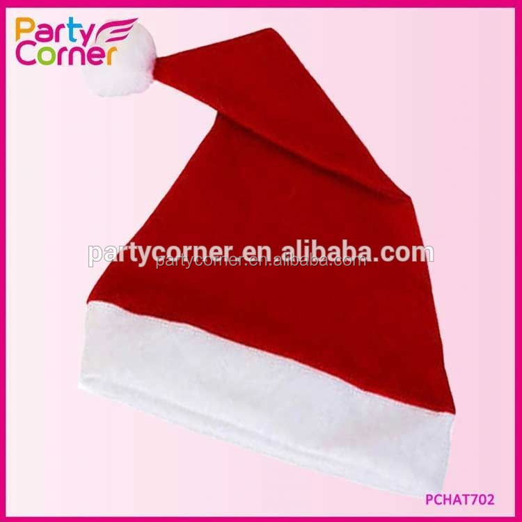 Economy Christmas Santa Hat With Pom Pom Adult Size
