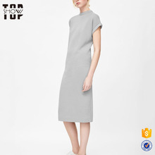 Wholesale bodycon plain midi dress women patterns rolled short sleeves