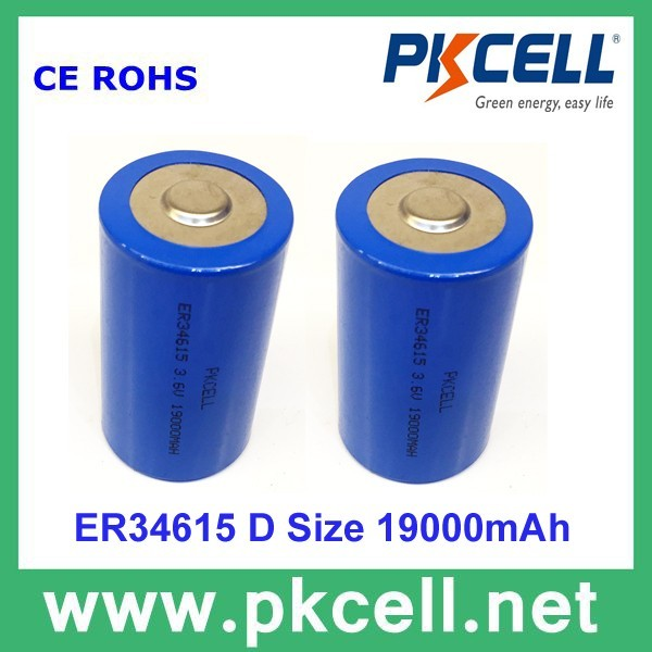 ER34615 3.6V 19000mAh Primary Lithium Batteries/li-SiO2 battery /PKCELL brand