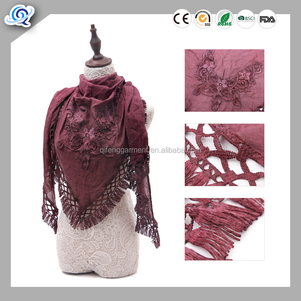 Dark Red floral triangle lace scarf with trim