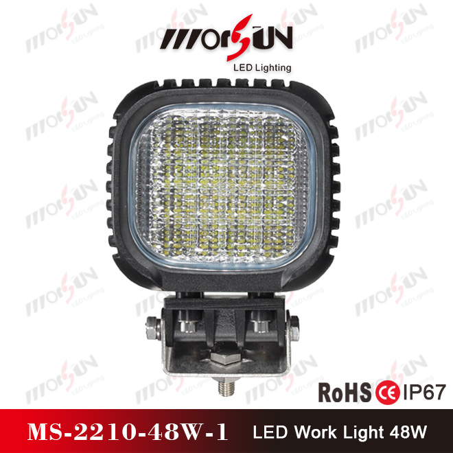 "Square 48W 5"" High lumen led head driving lamp auto light for off road car, motorcyle vehicle"