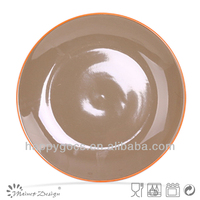 Hot sell two tone colorful glaze dinner plate manufacturer