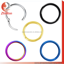ZhiRen wholesaler 316l Stainless Steel colorful plated hinged segment ring, steel segment ring, steel segment piercing