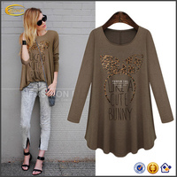 Ecoach high quality European korean Style long sleeve Spring Autumn women ladies loose fit casual fashion t shirt