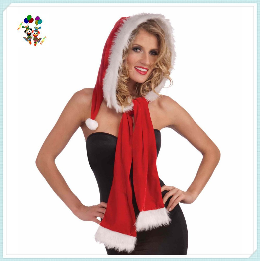 Christmas Party Fancy Dress Santa Hats with Scarf HPC-1020