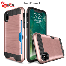 Cheap cover case for iphone 8 with card inserted function ,back case card insert for iphone 8,cellphone case for iphone 8 fancy
