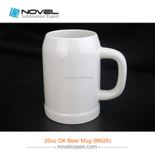 Blank Mug Wholesale Sublimation 20oz OK Beer Mug,White Ceramic Mug