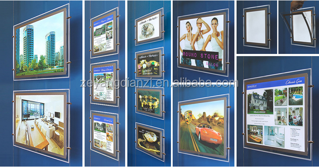 Acrylic Real Estate a3 a4 Light Signs Window Led Poster Holders Advertising Display