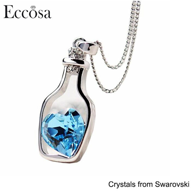 High Quality Fashion Jewelry Wholesale Drifting Bottle With Heart Pendant Necklace For Lucky Crystal From Swarovski