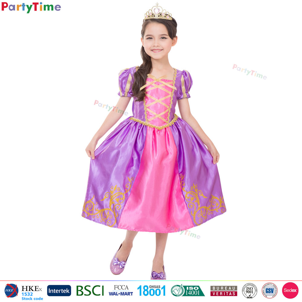 purple royal princess dresses for girls of 10 years old fancy dress kids prom costume 2016 S M XL size girls princess dress
