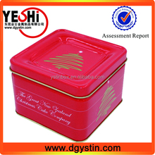 Food grade square metal christmas cookie biscuite packing tin box