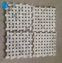 Marble Mosaic Strip and Stone Basketweave Mosaic