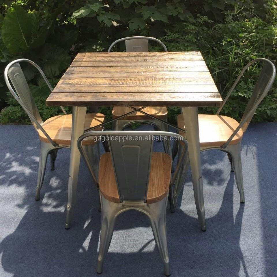 야외 정원 레스토랑 식탁 가구 복고풍 나무 광장 커피 식탁 의자 ...