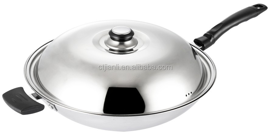 Kitchenware as stainless steel long handle fry pan wok with mirror polish