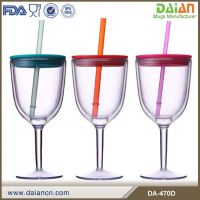 US hot selling double wall drinking plastic wine glass with lid