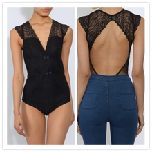 New Fashion Cut Out Back Sexy Black Lace Plunge Bodysuit Women Tops NT6140