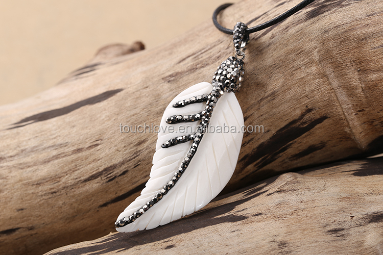 Handmade Craved Feather Shaped White Color Necklace, Ox Bone Necklace For Men