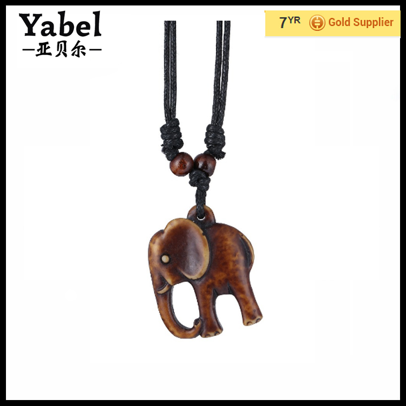 ECCOSA Free Shipping Amber Elephant Pendant Necklace Jewelry Teething Necklace