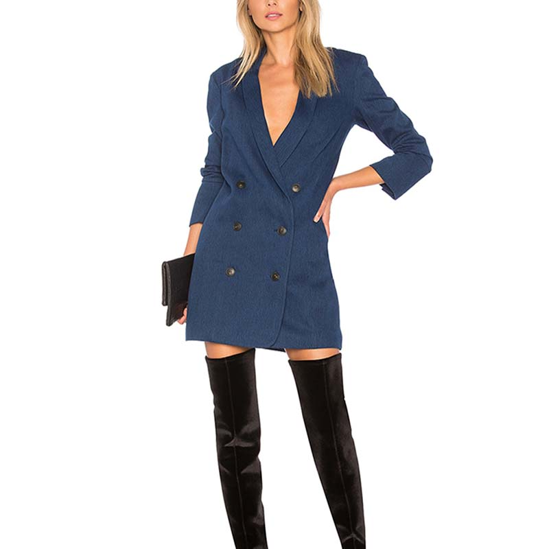OEM apparel side pocket sexy open breast layer blazer dress