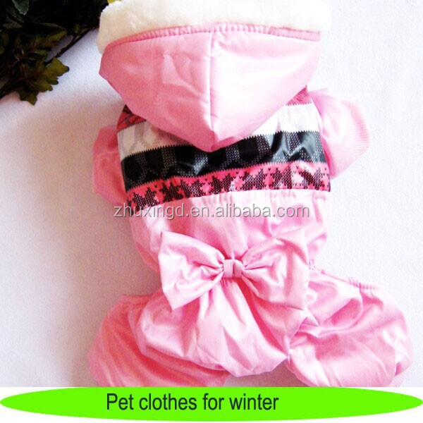 Pet clothes for winter, heated pink dog overalls with hood, winter dog pet clothes