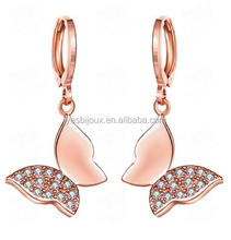 big dangle butterfly zircon pendant earrings