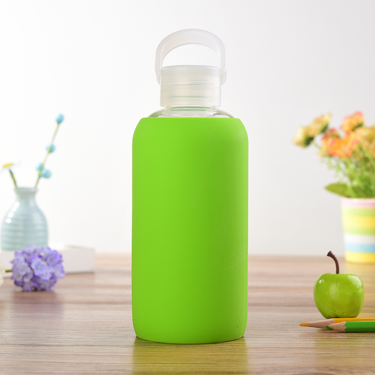 Colorful soft sport silicone glass water bottle sleeve