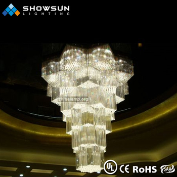 Large octagonal center decorative crystal ceiling chandelier lighting for project