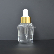 NEW Clear French Square Glass dropper Bottle for e liquid e-cig essential oil WITH private label