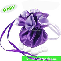 high quality round bottom black jewelry satin pouch bags