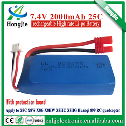 for rc drone helicopter toy battery 25c 7.4v 2000mah 903475 syma x8c pack