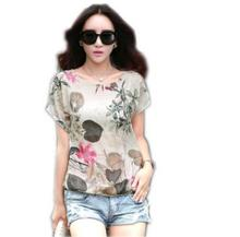 Wholesale New lady tops print t-shirt summer western girl fashion casual blouse