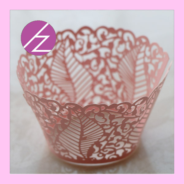 <strong>Flower</strong> with Leaf Wedding Party Decoration Cupcake Wrapper DG-76