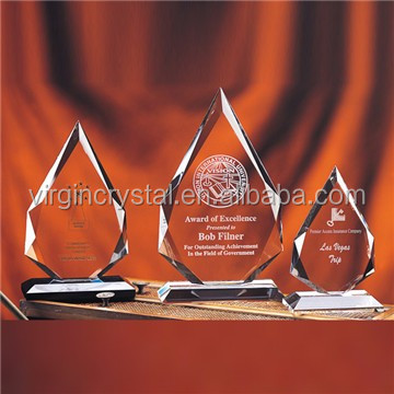 Wholesale blank crystal glass award plaque with engrave logo