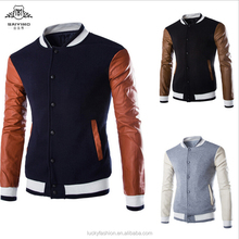 Autumn Winter Fashion Design Baseball Uniform/Men's Bomber Jacket/Single Breasted Hoodies with PU Leather Sleeve