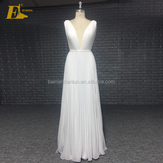 Simple Custom Made V-neck Open Back Sizes Available Elegant Pleating White Long Bridesmaid Dress